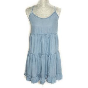 Mossimo Target Dress Chambray Tiered Blue Small